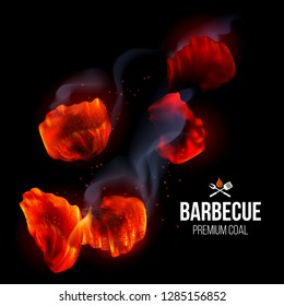 Actively Smoldering Embers of Fire for BBQ Grill with Smoke on Black Background