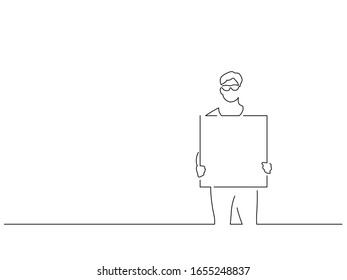 Activist holding a banner isolated line drawing, vector illustration design. Activism collection.