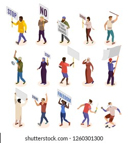 Activists isometric icons set of people involved in politic demonstration and strike isolated vector illustration