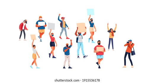 Activists with placards, peaceful rights protest, manifestation, men and women parade participation. Parade rights, adult picket and strike. People hold banners. Cartoon Flat style vector illustration