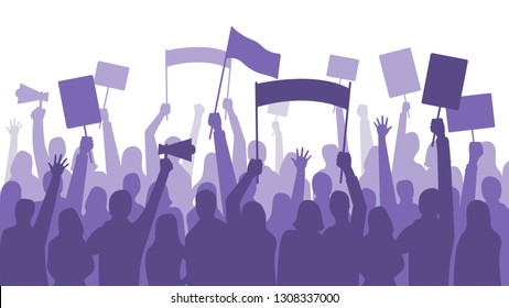 Activists protest. Political riot sign banners, people holding protests placards and manifestation banner. Jobs activist strike, vegetarians meeting or feminist demonstration vector illustration