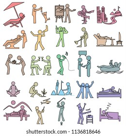 activities icon of leisure, rest, hobby, relax and travel, simple draw pastel color set