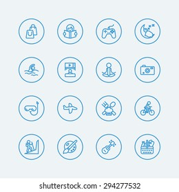 activities vacation line icons.Vector eps10