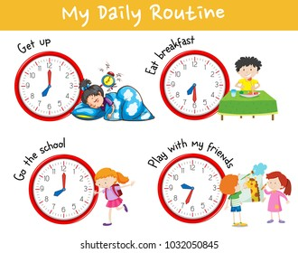 Activity chart showing different daily routine of kids illustration