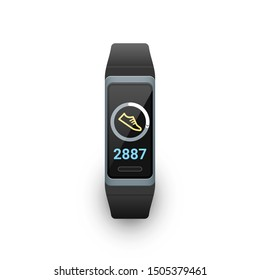 Activity fitness tracker with steps counter app on screen. Vector illustration