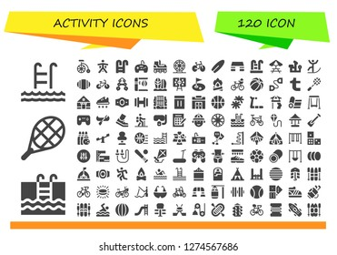 activity icon set. 120 filled activity icons. Simple modern icons about  - Swim, Swimming, Tennis, Bike, Wingsuit, Swimming pool, Gamepad, Roller skate, Ferris wheel, Surfboard