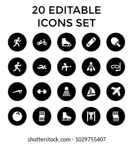 Set 20 Activity Filled Outline Icons Stock Vector (Royalty