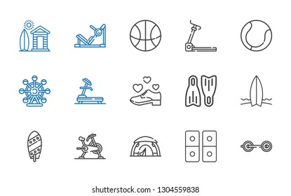 activity icons set. Collection of activity with barbell, domino, tent, stationary bike, surfboard, flippers, shoe, treadmill, ferris wheel. Editable and scalable activity icons.