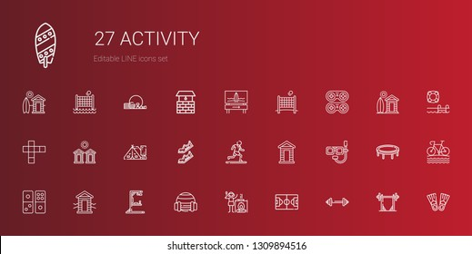 activity icons set. Collection of activity with barbell, football field, campfire, sport, gym station, cabin, domino, dive, running, shoes. Editable and scalable activity icons.