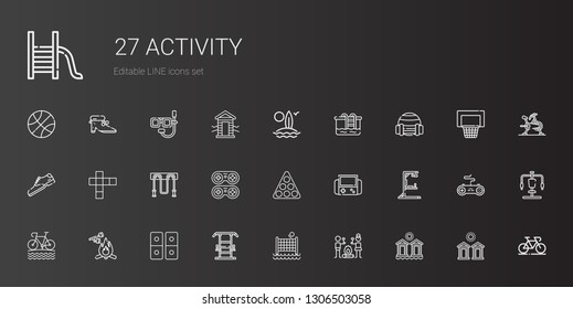 activity icons set. Collection of activity with cabins, smore, volley, gym station, domino, marshmallow, bike, video games, pool, gamepad. Editable and scalable activity icons.