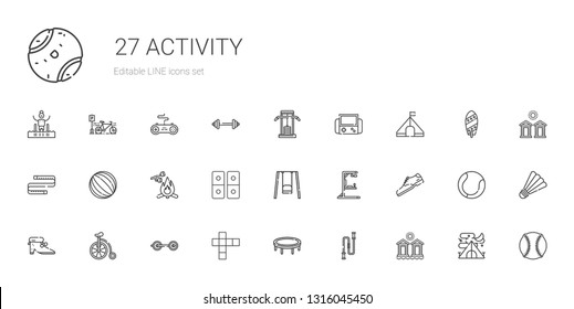 activity icons set. Collection of activity with cabins, jumping rope, trampoline, hopscotch, barbell, bicycle, shoes, shoe, gym station. Editable and scalable activity icons.