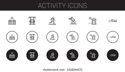 activity icons set. Collection of activity with cabins, gym station, running, marshmallow, cabin, shoes. Editable and scalable activity icons.