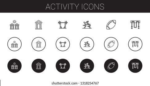 activity icons set. Collection of activity with cabins, cabin, barbell, stationary bike, rugby, jumping rope. Editable and scalable activity icons.