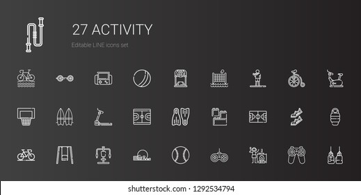 activity icons set. Collection of activity with campfire, gamepad, baseball, gym, gym station, swing, bicycle, football field, lego, flippers. Editable and scalable activity icons.