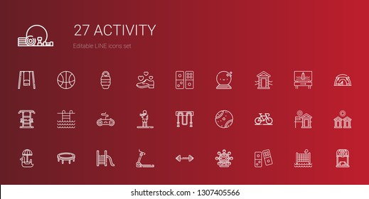 activity icons set. Collection of activity with domino, ferris wheel, barbell, treadmill, slide, trampoline, pedal boat, bicycle, tennis ball. Editable and scalable activity icons.