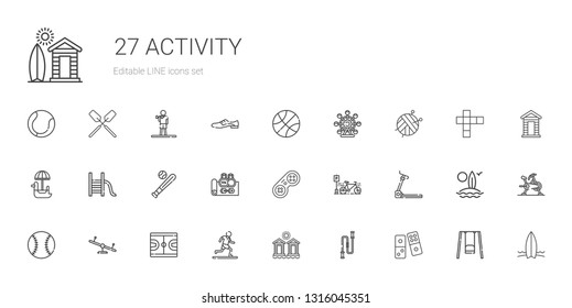 activity icons set. Collection of activity with domino, jumping rope, cabins, running, basketball, swing, baseball, treadmill, bicycle, gamepad. Editable and scalable activity icons.