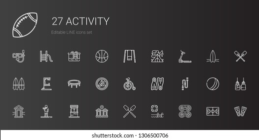 activity icons set. Collection of activity with gamepad, swimming pool, oar, cabins, well, exercise, cabin, jumping rope, flippers, bicycle. Editable and scalable activity icons.