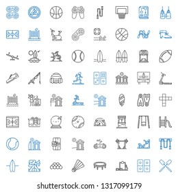 activity icons set. Collection of activity with oar, domino, workout, trampoline, badminton, ball, tent, surfboard, jumping rope, gym station. Editable and scalable activity icons.