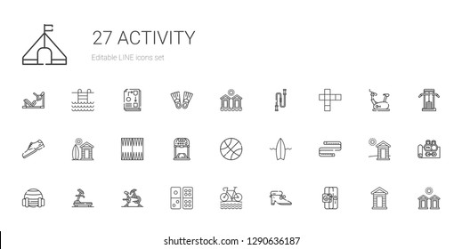 activity icons set. Collection of activity with sport, shoes, bike, domino, stationary bike, treadmill, measuring tape, surfboard, basketball. Editable and scalable activity icons.