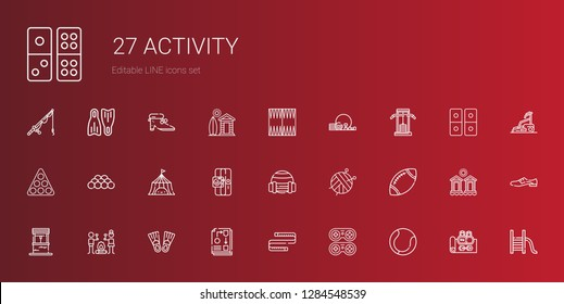 activity icons set. Collection of activity with tennis, gamepad, measuring tape, workflow, flippers, smore, well, rugby, ball, sport, tent. Editable and scalable activity icons.