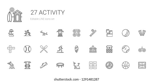 activity icons set. Collection of activity with tent, domino, stationary bike, trampoline, shoe, gym station, marshmallow, well, cabins. Editable and scalable activity icons.