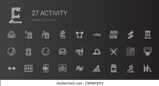 activity icons set. Collection of activity with treadmill, exercise, surfboard, sport, basketball, barbell, paddles, workout, dive, video games. Editable and scalable activity icons.