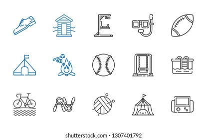 activity icons set. Collection of activity with video games, tent, ball, exercise, bike, pool, swing, baseball, marshmallow, rugby, dive. Editable and scalable activity icons.