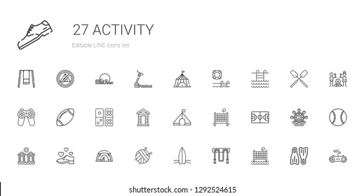 activity icons set. Collection of activity with volley, jumping rope, surfboard, ball, tent, shoe, cabins, football field, cabin, domino. Editable and scalable activity icons.