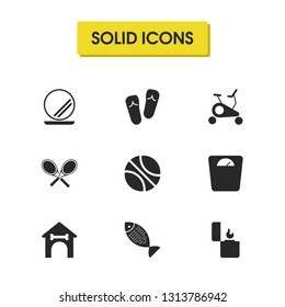 Activity icons set with libra, booth and mirror elements. Set of activity icons and tennis concept. Editable vector elements for logo app UI design.