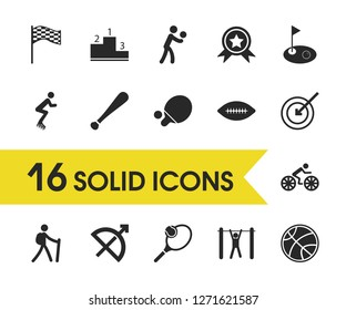 Activity icons set with racing flag, ping pong and racquetball elements. Set of activity icons and baseball stick concept. Editable vector elements for logo app UI design.