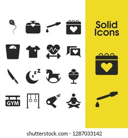 Activity icons set with ring simulator, kite and pipette elements. Set of activity icons and blow-dryer concept. Editable vector elements for logo app UI design.
