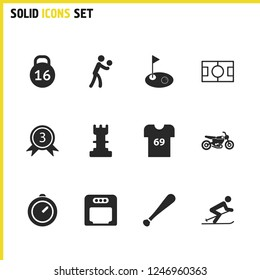 Activity icons set with t-shirt, stopwatch and volleyball player elements. Set of activity icons and volley competition concept. Editable vector elements for logo app UI design.
