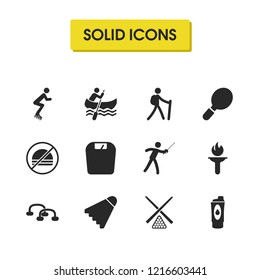 Activity icons set with weighing machine, tourist and epee elements. Set of activity icons and torch flame concept. Editable vector elements for logo app UI design.