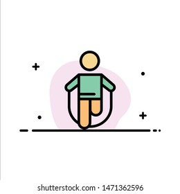 Activity, Jump, Jumping, Rope, Skipping  Business Flat Line Filled Icon Vector Banner Template. Vector Icon Template background