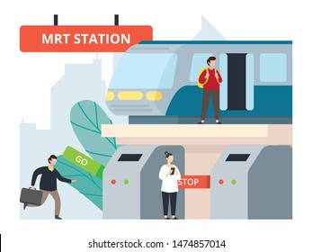 Activity in mass rapid transport station. City infrastructure development. City scape, tower, and mass transportation development. Infrastructure of a city with tiny people illustration.