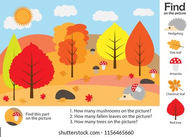 Activity page, autumn forest in cartoon style, find images, answer the questions, visual education game for the development of children, kids preschool activity, worksheet, vector illustration