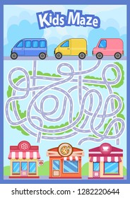 Activity page with children maze. Find the right path roads for cars to shops. Kids labyrinth game. Funny riddle. Education developing worksheet. Vector illustration.