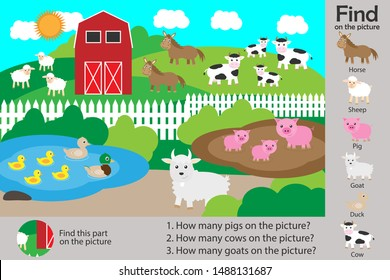 Activity page, farm with animals in cartoon style, find images and answer the questions, visual education game for the development of children, kids preschool activity, worksheet, vector illustration