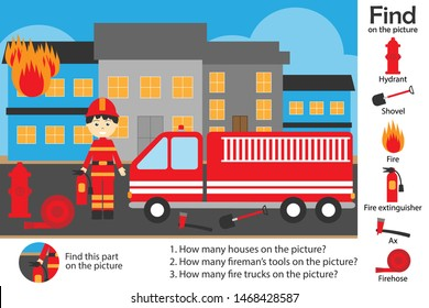 Activity page, fire and fireman in cartoon style, find images and answer the questions, visual education game for the development of children, kids preschool activity, worksheet, vector illustration