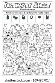 Activity sheet counting game - eps10 vector illustration.
