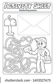 Práctica de escritura a mano de hoja de actividad 4 - ilustración vectorial eps10.