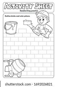 Práctica de escritura a mano de hoja de actividad 5 - ilustración vectorial eps10.
