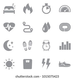 Activity Tracking Icons. Gray Flat Design. Vector Illustration.