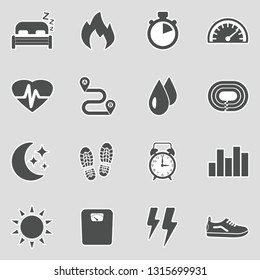 Activity Tracking Icons. Sticker Design. Vector Illustration.