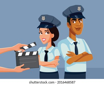 Actors Filming a Police Detective TV Series on Set. Young actor and actress starring in crime mystery show