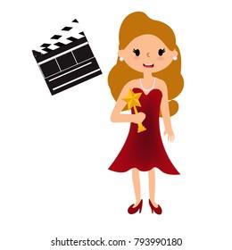 Actress is holding award.