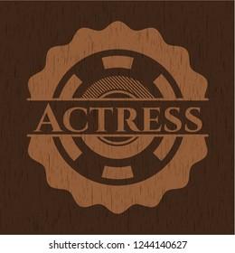 Actress vintage wooden emblem