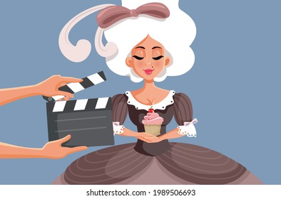 Actress Wearing a Ball Gown Starring in Historical Drama Film. Biopic movie with accurate costume design being filmed on set