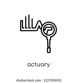 actuary icon. Trendy modern flat linear vector actuary icon on white background from thin line Professions collection, outline vector illustration