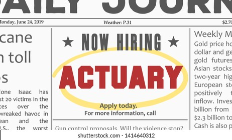 Actuary job offer. Newspaper classified ad career opportunity.